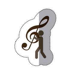 Sticker worker holding up sign music treble clef vector
