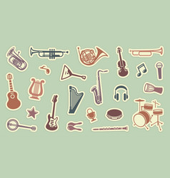 stickers of musical instruments vector image vector image