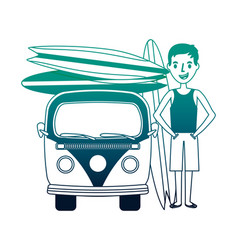 surfer with van and surfboards isolated icon vector image