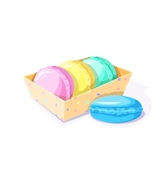 The box with three macaroons vector image