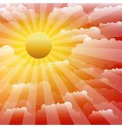 The sunset sky with clouds and sunrays vector