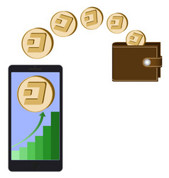 Transfer dash coins from phone in the wallet vector