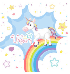 Unicorn on colorful rainbow vector