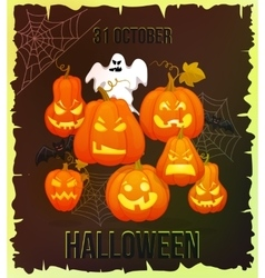 Vertical Halloween grunge banners with pumpkin vector image