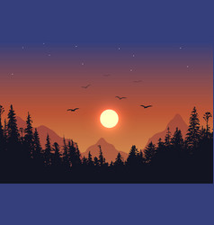View to forest on sunset background vector