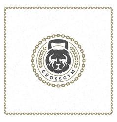 weight lion head badge emblem vector image