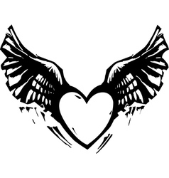 Winged Heart Black White vector image
