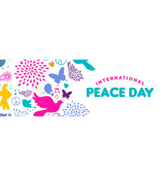 World peace day web banner of dove bird icons vector
