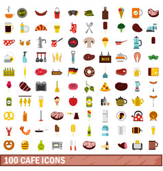 100 cafe icons set flat style vector image