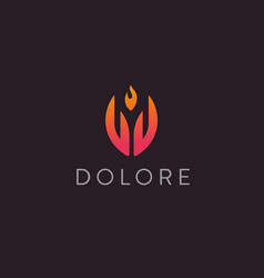 hand fire logotype palm flame logo vector image