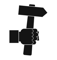 hand hoding hammer with tool icon vector image