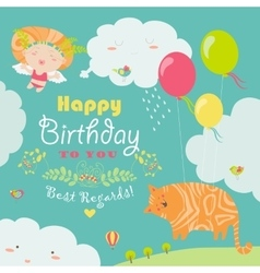 Happy birthday card with cute cat and angel vector image vector image