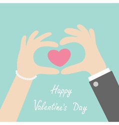Happy Valentines day Man woman hands in the form vector image