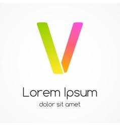 Logo letter V company design template vector image vector image