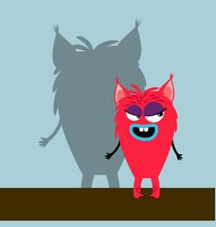 pink cute girl monster vector image