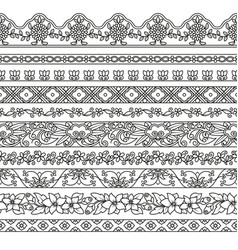 set of floral elements for ethnic decor vector image vector image