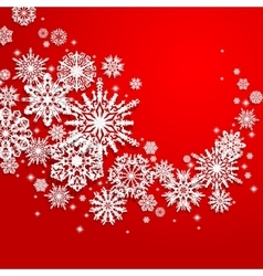 Abstract swirl of paper snowflakes on a red vector image