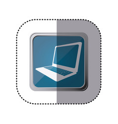 blue emblem laptop technology icon vector image