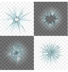 Broken and damaged glass set vector