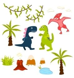 Dinosaur and jungle tree clipart set vector image