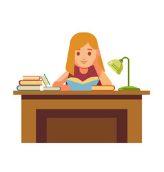 girl sits at table with books and reads vector image