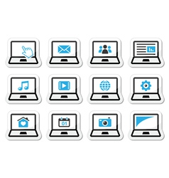 Laptop icons set vector image vector image
