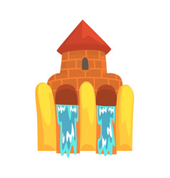 water slides in the form of a castle aquapark vector image