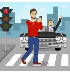 Young man crossing street sending sms vector image
