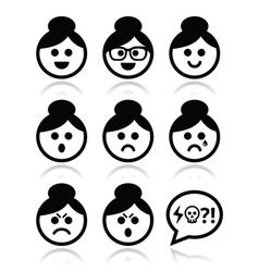 Grandma face woman with bun hair icons set vector image