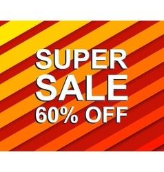 Red striped sale poster with super sale 60 percent vector
