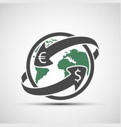 simple icon earth planet with arrows money vector image vector image