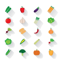 Vegetable flat icons with a shadow vector image