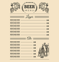 beer menu design template pub restaurant vector image