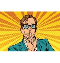 Businessman gesture Shh silence vector image vector image