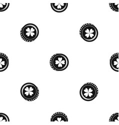 Coin with clover sign pattern seamless black vector