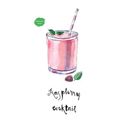 glass of raspberry cocktail in watercolor vector image