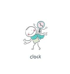 Man and clock vector image