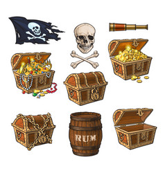 pirate objects treasure chests flag rum barrel vector image