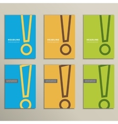Set of patterns brochures with an exclamation mark vector image
