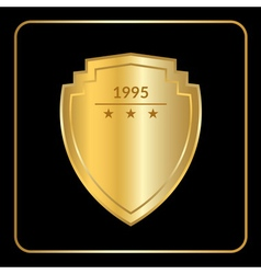 shield emblem gold black vector image vector image