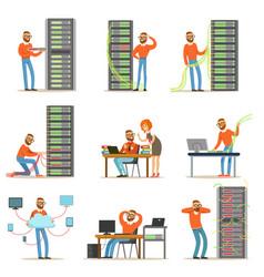 young engineer working in network server room vector image vector image