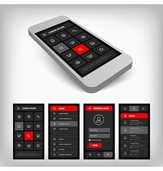 3d visualization black and red ui vector image