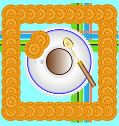 a cup of tea on a saucer with a spoon and cookies vector image