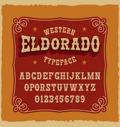 A vintage serif font in western style vector