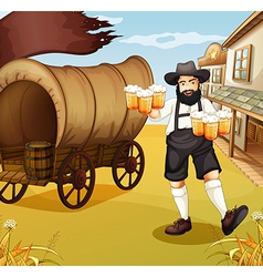 A waiter near the wagon vector image