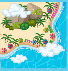 Aerial view of ocean and beach vector