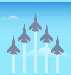 aerobatics planes in sky vector image
