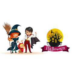 All hallows eve family party vector