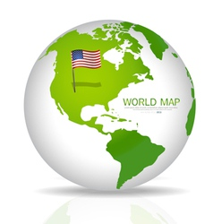 American Flag on the map vector image