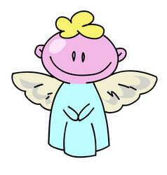 angel cartoon hand drawn image vector image